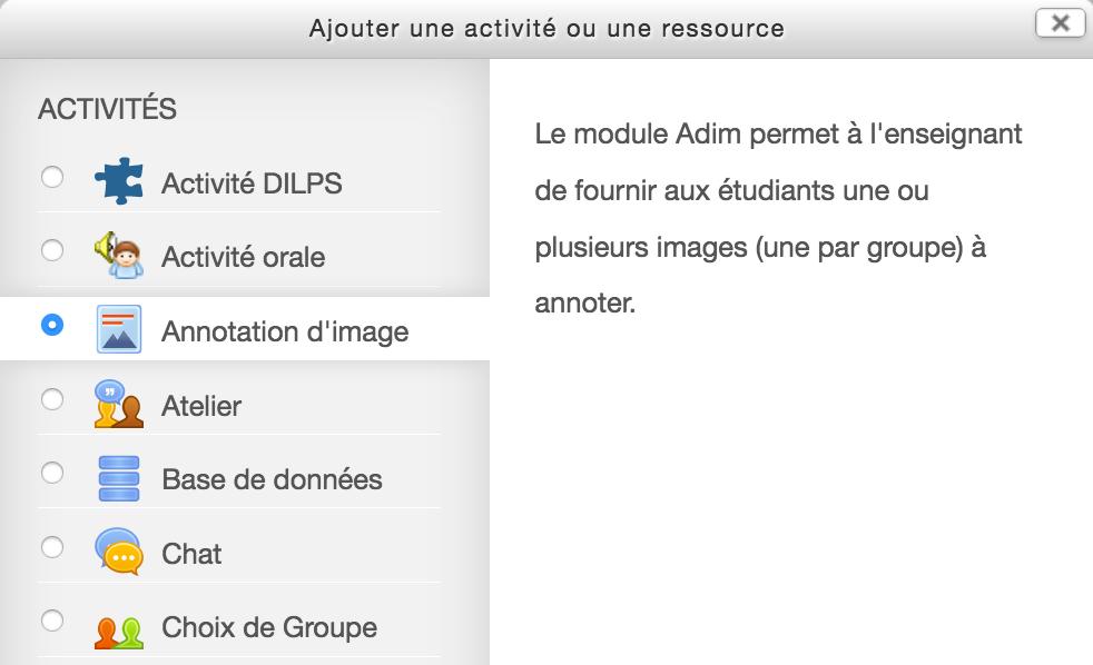 Fenêtre d'ajout d'une activité d'annotation d'image dans Moodle à l'UNIL