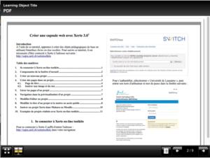 PDF intégré dans une page de projet Xerte