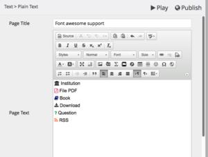Exemple d'icônes insérées dans l'éditeur de texte