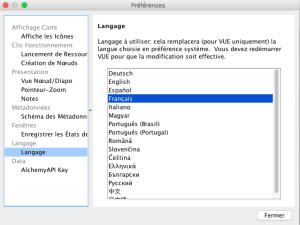 Choix de langue VUE