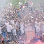 I giocatori festeggiano la promozione in Super League. Immagine ticinonews.ch